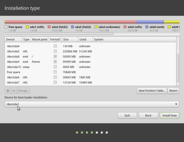 Linux Mint 17.2 partitions on OEM computer
