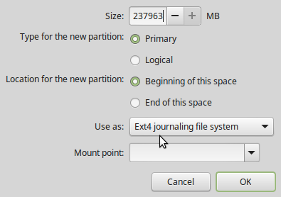 Linux Mint 17.2 partition editor