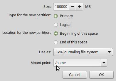 Home partition Linux Mint 17.2