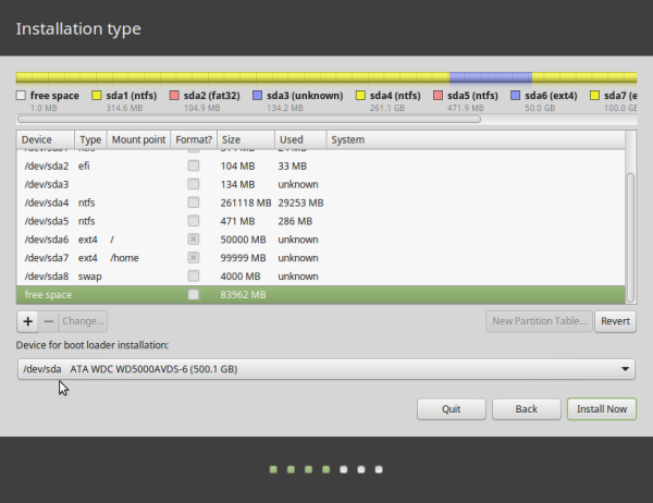 Linux Mint 17.2 partitions