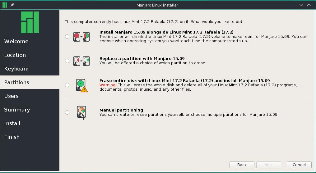 Calamares partition methods