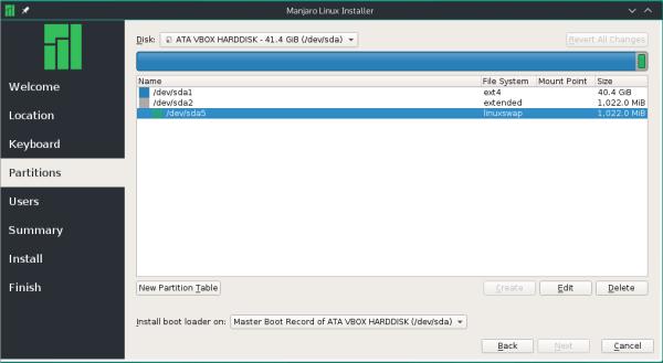 Calamares manual disk partition