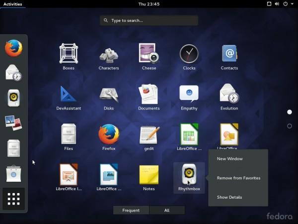 Fedora 23 GNOME app view