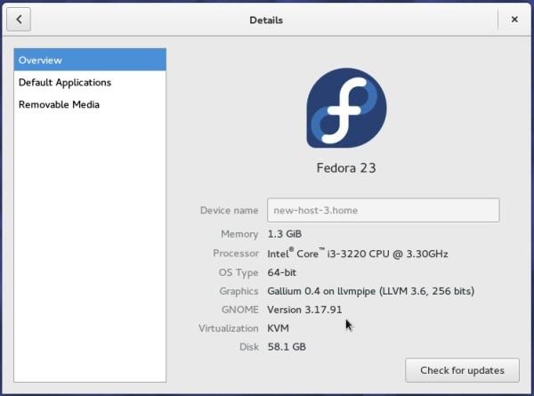 Fedora 23 GNOME system info