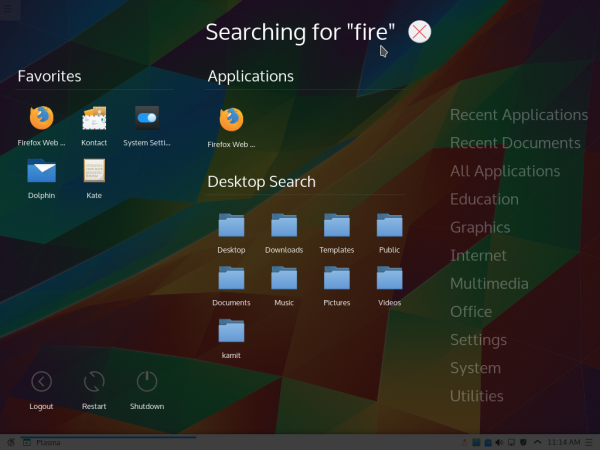 KDE 5 Application Dashboard search
