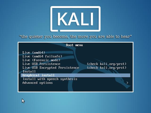 Kali Linux 2.0 Boot menu