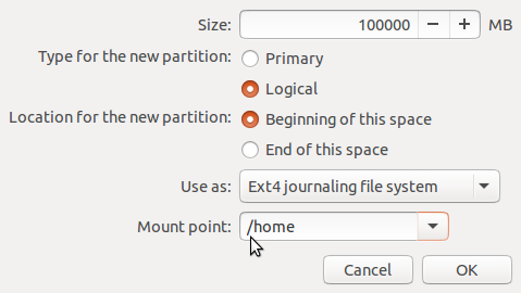 Ubuntu 15.04 home partition