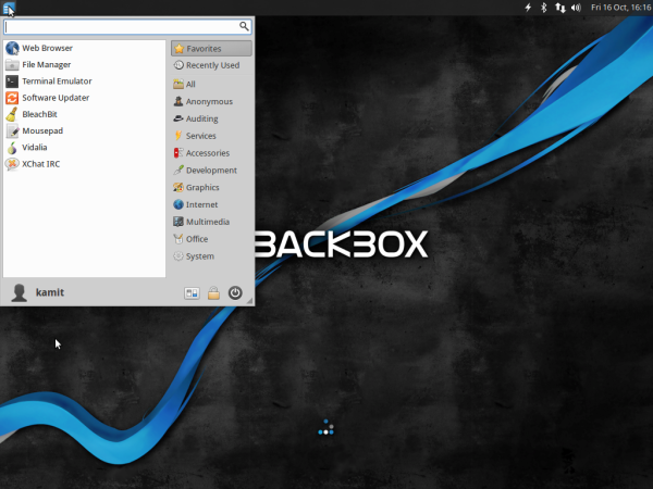 Desktop menu BackBox 4.4