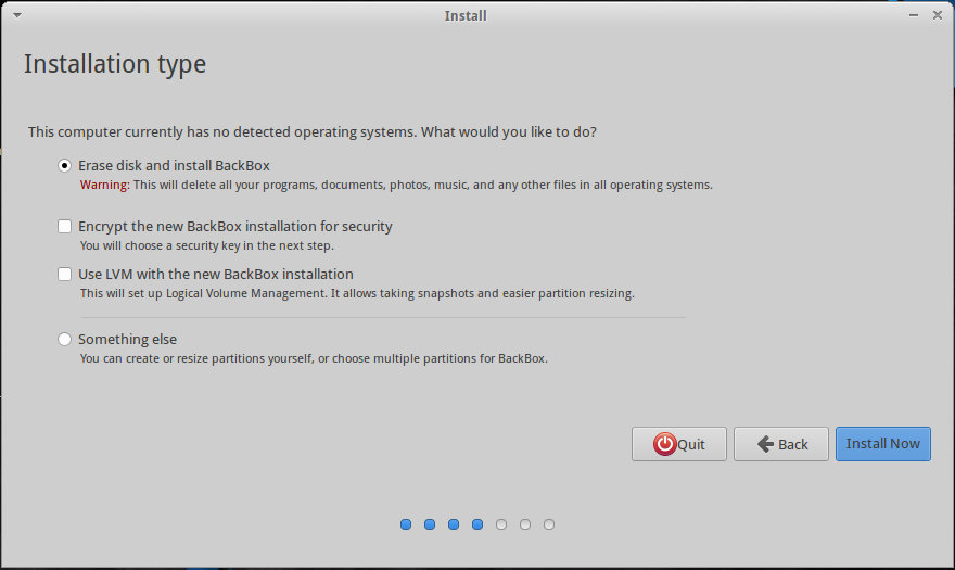 BackBox 4.4 Graphical Installer