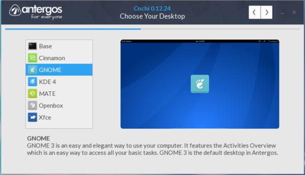 Desktop environments in Cnchi