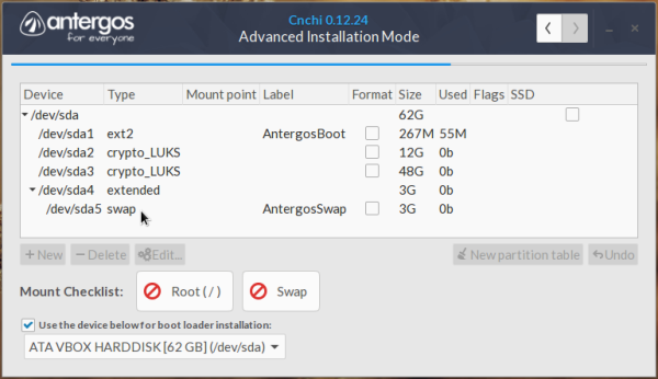 Antergos unencrypted swap partition