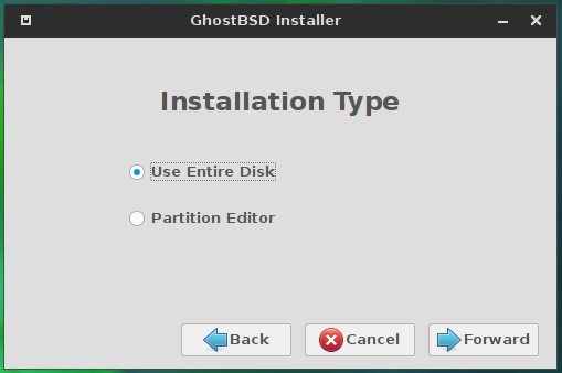 GhostBSD 10.1 disk partition methods