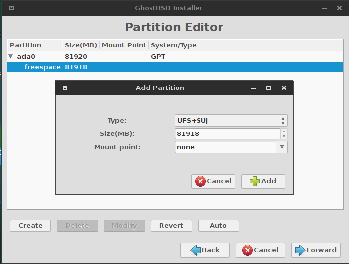 GhostBSD 10.1 partition editor