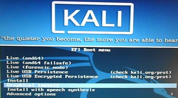Kali Linux 2.0 EFI boot menu