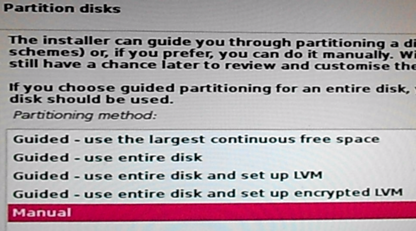 Kali Linux 2 disk partition methods