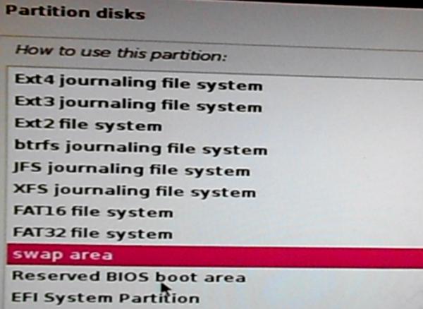 Kali Linux 2 swap partition