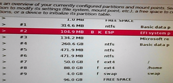 Kali Linux 2 Boot EFI partition