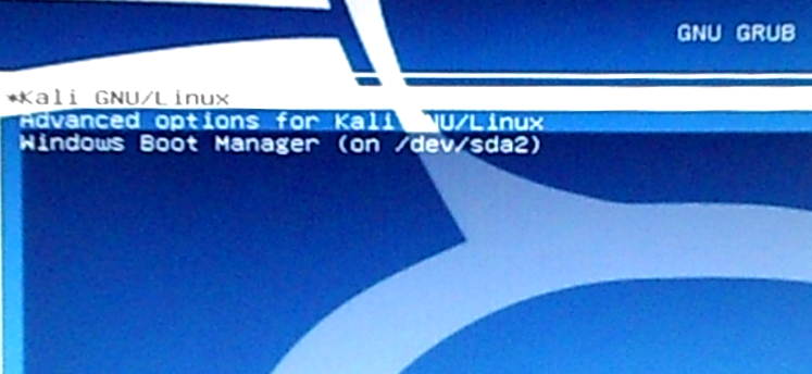 Kali Linux 2 GRUB boot menu