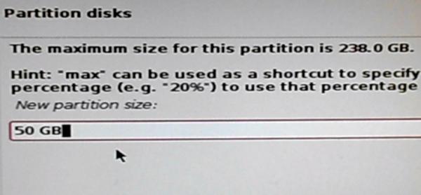Kali Linux 2 root partition size