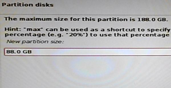 Kali Linux 2 /home partition size