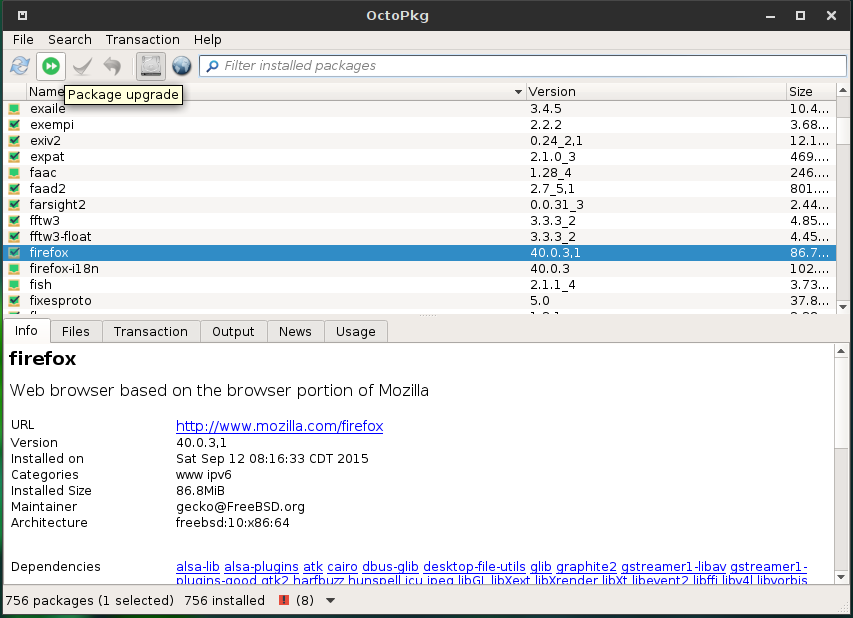 GhostBSD 10.1 OctoPkg package manager