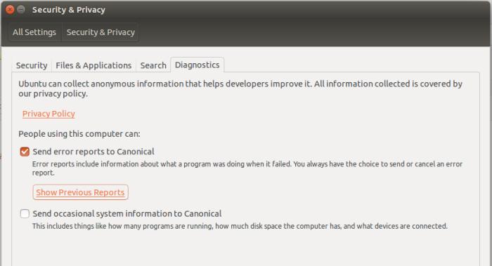 Ubuntu 15.10 send reports