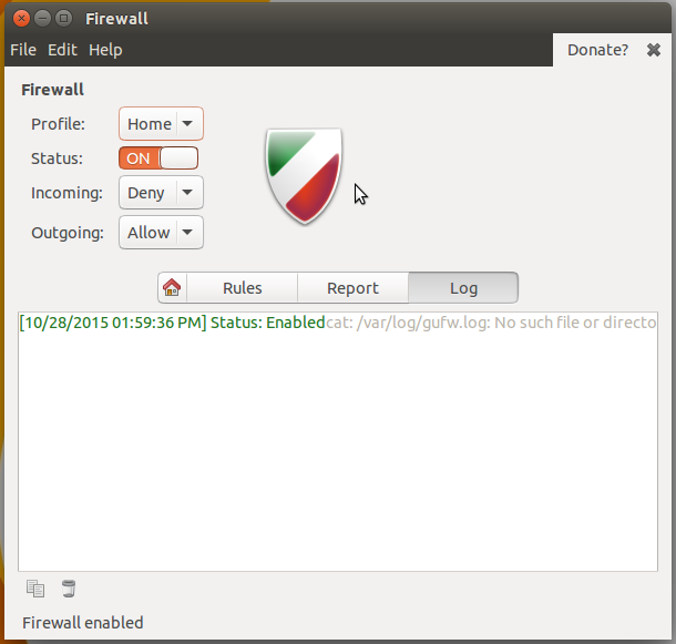 Gufw firewall on Ubuntu 15.10 disabled