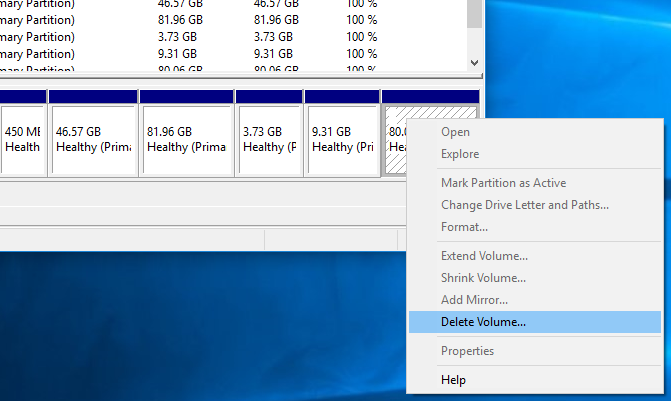 Delete Linux partitions from Windows 10