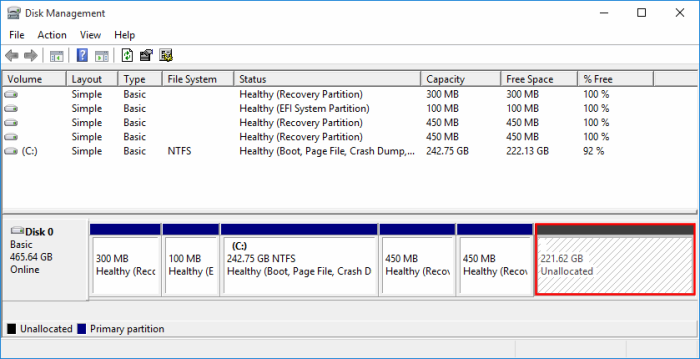 Windows 10 partitions