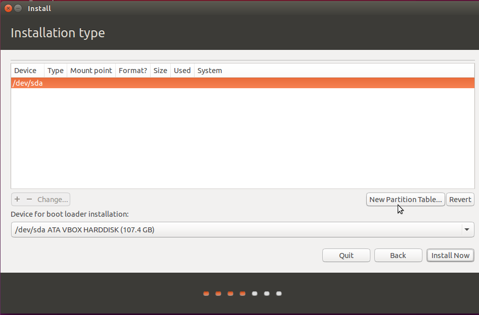 partition table on Ubuntu 15.10