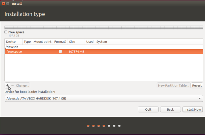 Create partitions Ubuntu 15.10