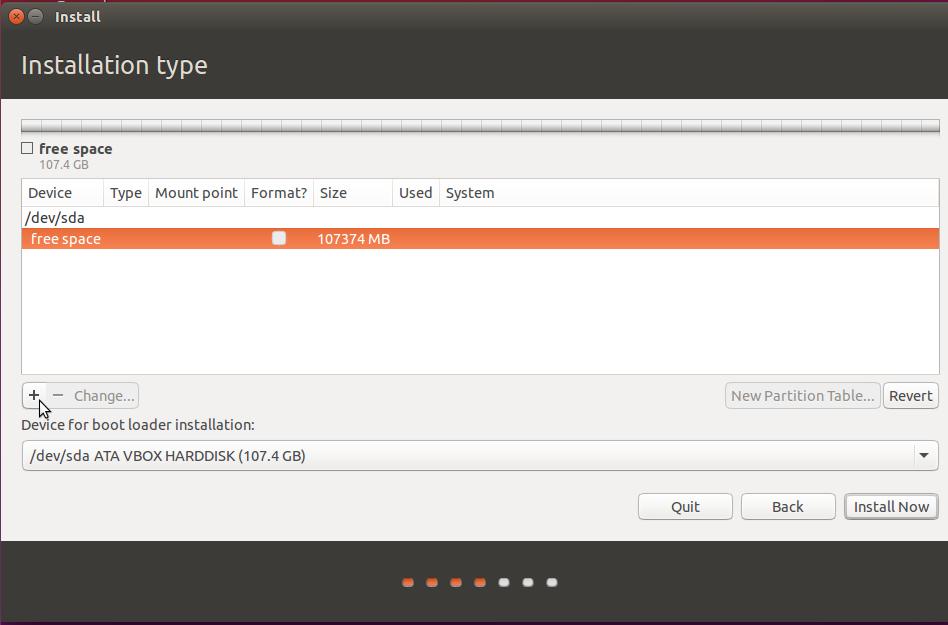 Create partitions Ubuntu 15.10
