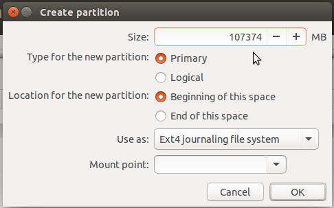 artition editor of Ubuntu 15.10
