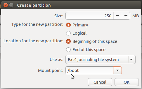 Ubuntu 15.10 boot partition