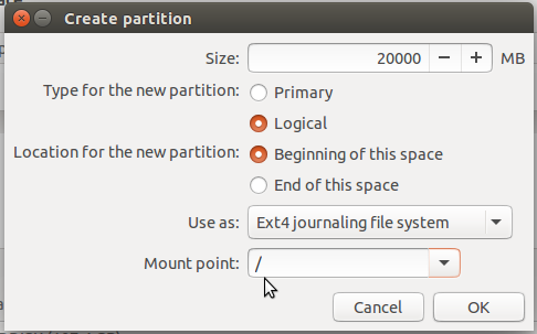Ubuntu 15.10 root partition