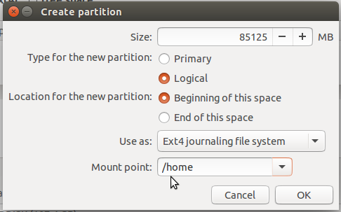 Ubuntu 15.10 home partition