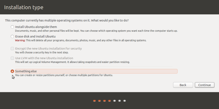 """Something else"" option on Ubuntu 15.10"