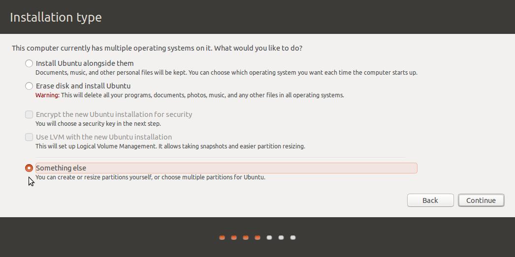 """""""Something else"""" option on Ubuntu 15.10"""