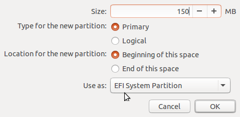 Ubuntu 15.10 create EFI System Partition