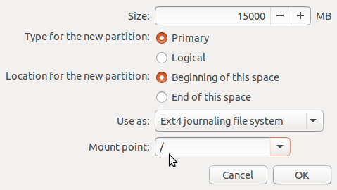 Create root partition Ubuntu 15.10