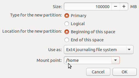 Create home partition Ubuntu 15.10