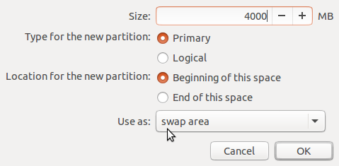 Creating swap partition Ubuntu 15.10