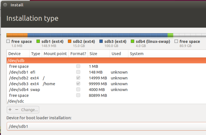 Ubuntu 15.10 disk partitions