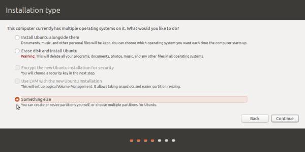 ubuntu 15.10 Something else option
