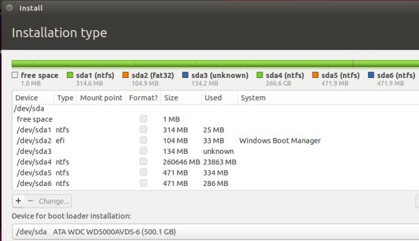 ubuntu 15.10 manual partitioning tool