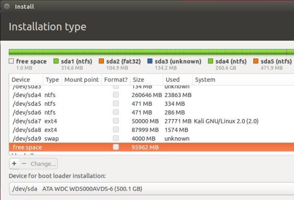Ubuntu 15.10 manual partitions