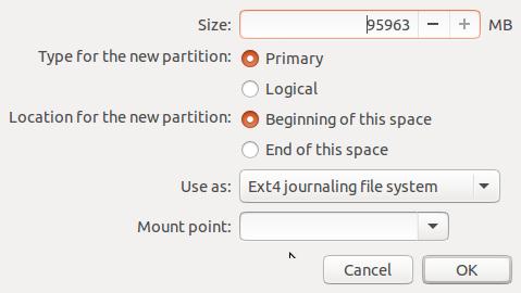 buntu 15.10 partition editor