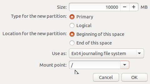 Ubuntu 15.10 root partition