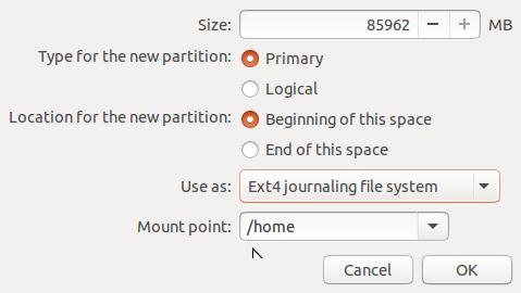 Ubuntu 15.10 home partition