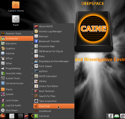 Desktop accessories on CAINE 7
